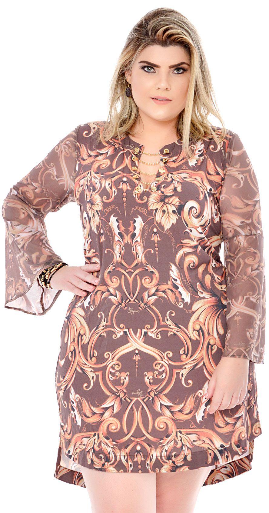 03d24726810 Vestido Plus Size Brauner