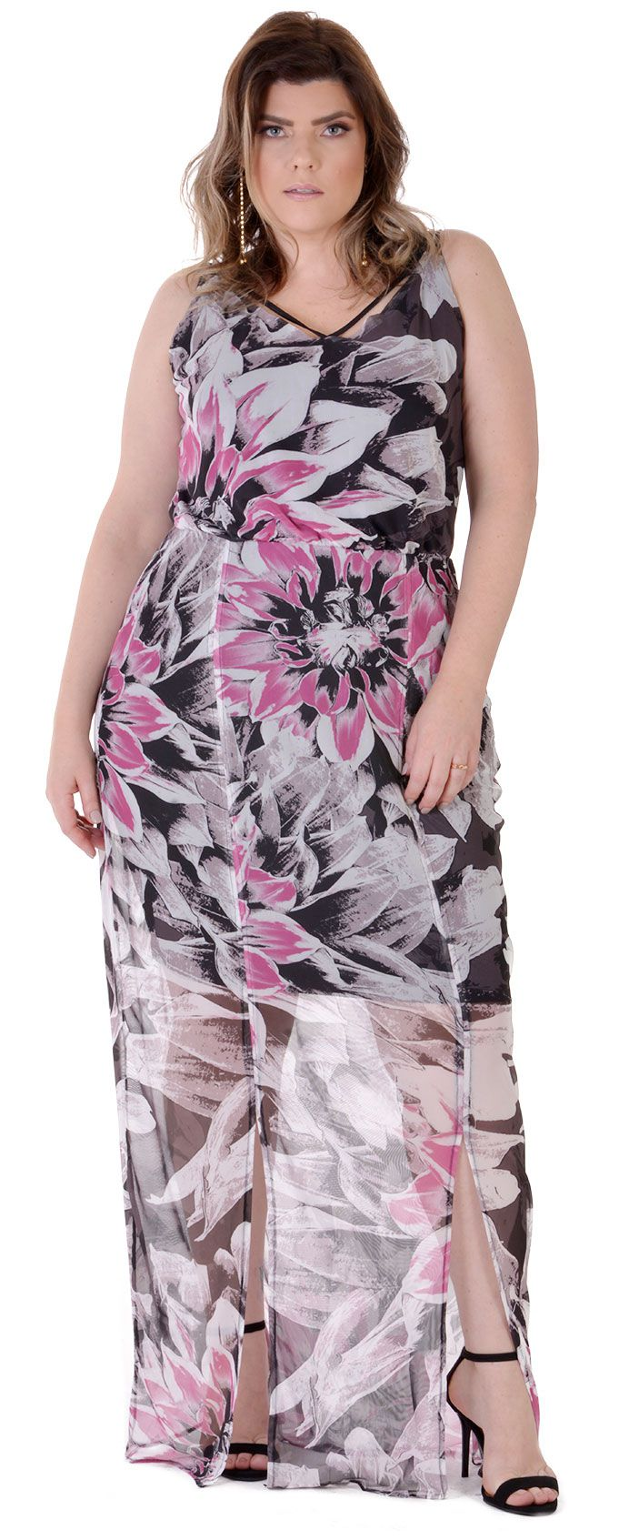 Vestido Longo Plus Size Roses