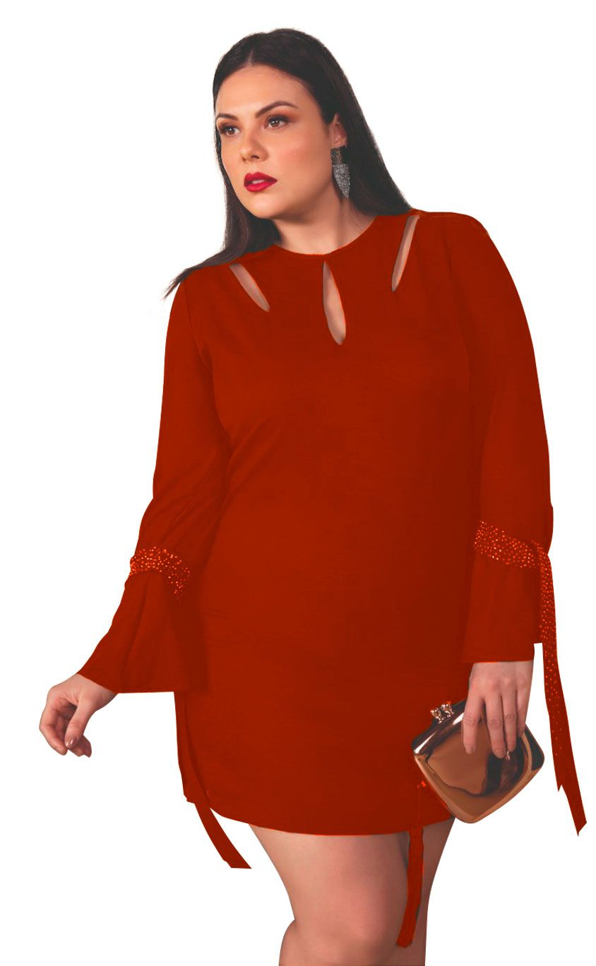Vestido Plus Size Claret Red