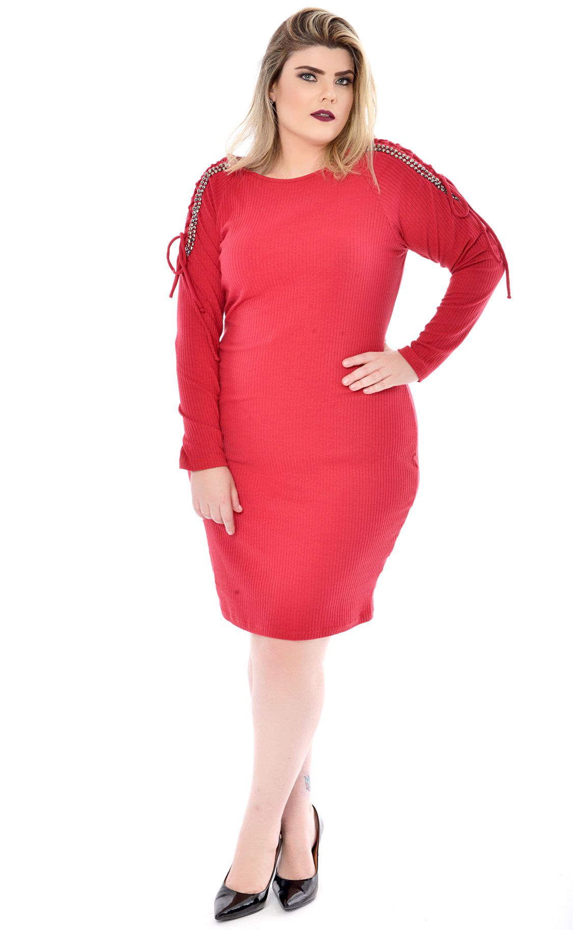 Vestido Plus Size Shoulder