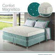 Conjunto Cama Box + Colchão Queen Confort Magnético com Espuma D28 158x198x69 Firme Verde Anjos