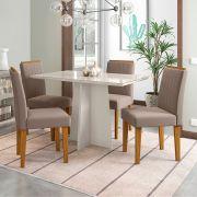 Conjunto Mesa de Jantar Ana 04 cadeiras 120 cm Tampo de Vidro MDF - Megasul