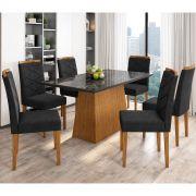 Kit Mesa de Jantar Barbara 06 cadeiras 160 cm Tampo de Vidro MDF - Megasul