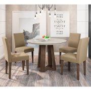 Kit Mesa de Jantar Isabela 100 Cm 04 cadeiras e Tampo de Vidro MDF - Megasul