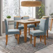 Conjunto Mesa de Jantar Jade 06 cadeiras 160 cm Tampo de Vidro MDF - Megasul