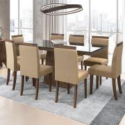 Conjunto Mesa de Jantar Melissa 06 cadeiras 180 cm Tampo de Vidro MDF - Megasul