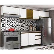Cozinha Modulada Yasmim 4 Peças 260 Cm - Balção e Aéreos MDP/15mm Branco/Carvalho - Megasul