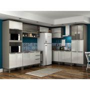 Cozinha Modulada Canto 10 Peças Completa Verace 341CM x 247,7 Cm MDP Taupé/Branco - MEGASUL