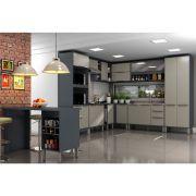 Cozinha Modulada 13 Peças Alto Padrão Verace com Ilha Gourmet MDP 15mm Titanio - MEGASUL