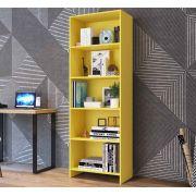 Estante para Livros 4 Prateleiras Sala 63Cm Amarelo -MegaSul