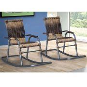 Kit 02 Cadeiras de Balanço em Junco Sintético Área Varanda Bela Infantil - MegaSul