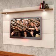 Painel de parede MDF para TV até 62' com 160cm Prateleira e LED Branco - MegaSul