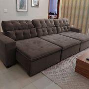 Sofá 07 Lugares Retrátil e Reclinável Alasca 350 Cm Pillow Veludo Marrom MegaSul