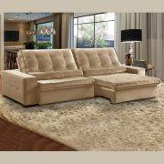 Sofá 4 Lugares Retrátil e Reclinável Assento Pillow 270x180 cm Confort Veludo Bege- MegaSul