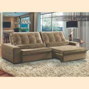 Sofá 4 Lugares Retrátil e Reclinável Assento Super Pillow 270x180 cm Confort Veludo Marrom - MegaSul