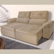 Sofá 4  Lugares Retrátil Reclinável HANO 250x180 Cm Pillow Molas Suede Bege - MegaSul