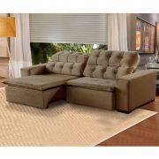 Sofá 5 Lugares Alasca 250 cm Retrátil e Reclinável Pillow Veludo Marrom512 - MegaSul