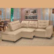 Sofá 5 Lugares Canto 254x212Cm Toronto Retrátil e Reclinável c/Chaise Pillow e Molas Bege - Megasul