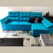 Sofá 6 Lugares Super Chaise Retrátil 290x235 Cm Assento Reclinável Canto Dallas Azul MegaSul