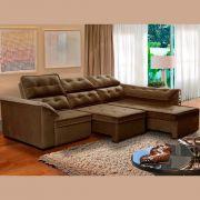 Sofá 6 Lugares Super Chaise Retrátil 290x235 Cm Assento Reclinável Canto Dallas Marrom MegaSul