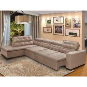 Sofá 7 Lugares Canto Assento Retrátil Pillow Chaise 3,70 x2,20 m Sttilo Bege - MegaSul