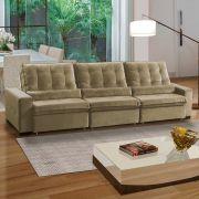 Sofá 7 Lugares Confort  Retrátil e Reclinável Assento Super Pillow 350x180 cm Veludo Marrom - MegaSul