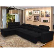 Sofá 7 Lugares de Canto Retrátil Reclinável Pillow Chaise 3,70 x 2,20 m Preto - MegaSul