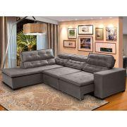 Sofá Canto 5 Lugares Chaise Retrátil e Reclinável Pillow 280 x 220 cm Sttilo - Megasul