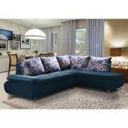 Sofá de Canto 8 Lugares Vilagio 270x196 Pillow com Almofadas Veludo Azul - MegaSul