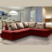 Sofá de Canto 8 Lugares Vilagio 270x196 Pillow com Almofadas Veludo Vermelho - MegaSul