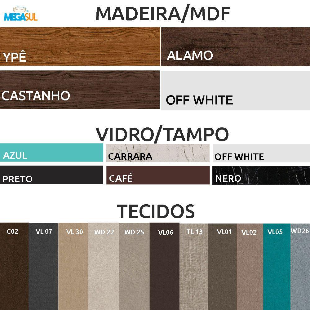 Aparador Vanessa Para Sala de Estar 116,5 cm Tampo de vidro MDF - Megasul