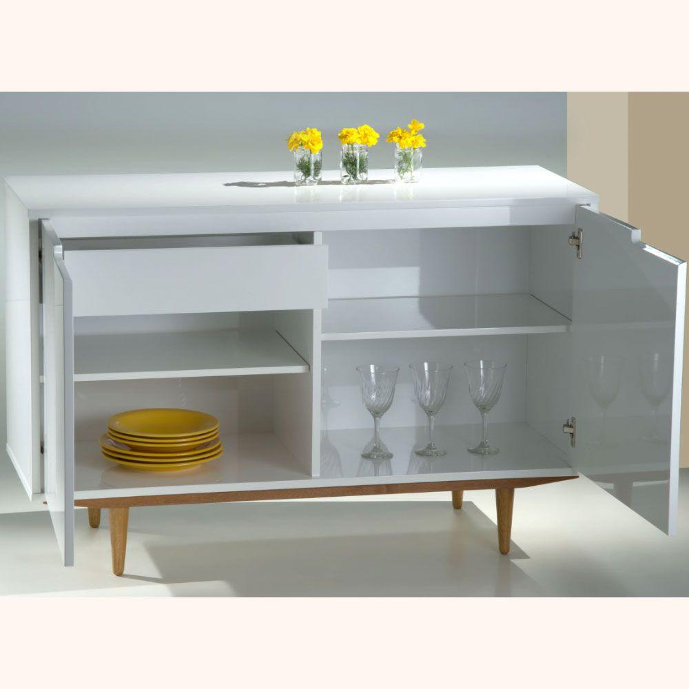 Balcão Buffet de Sala MDF Vintage 02 Portas Pés Palito 120cm Branco - Megasul