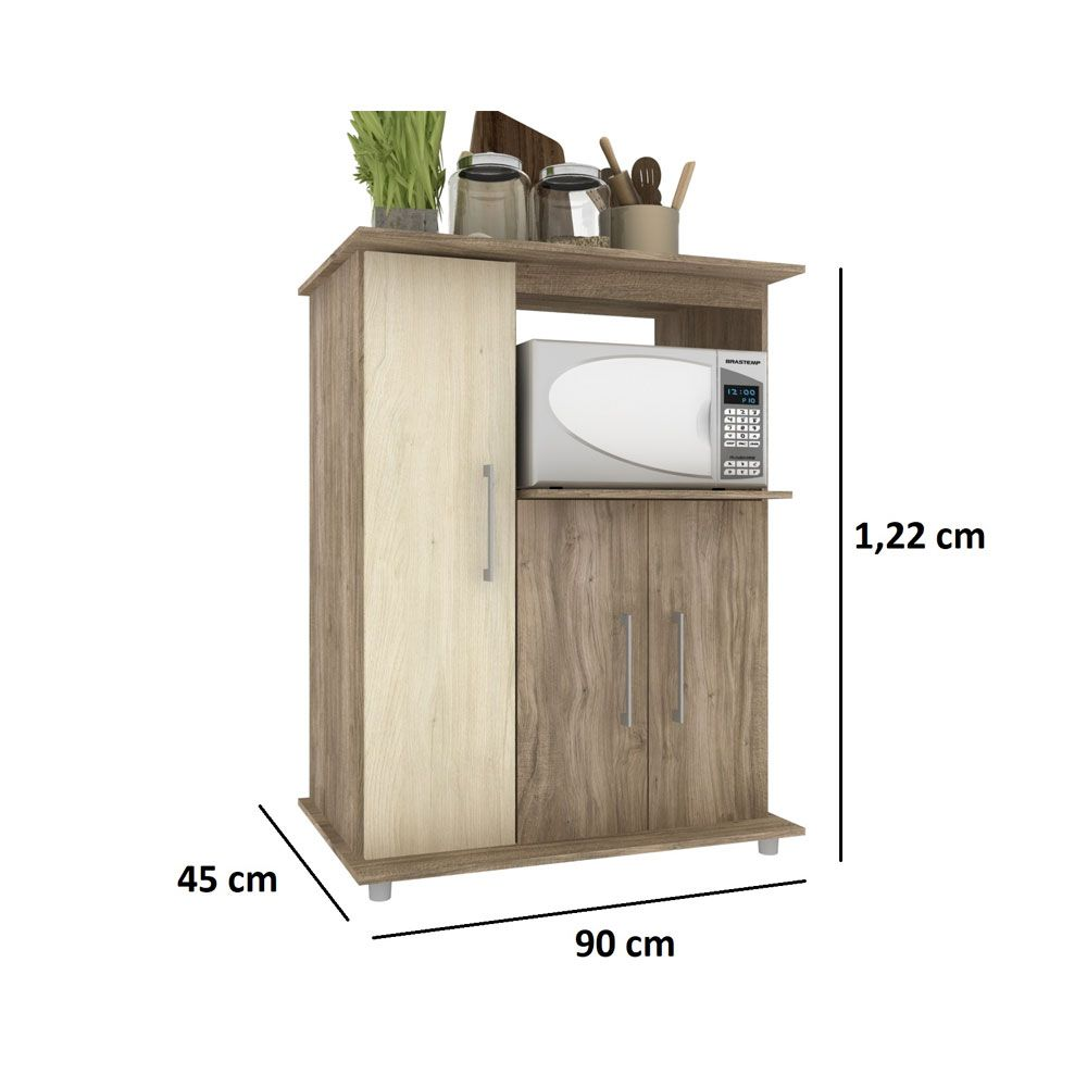 Balcão Multiuso Forno e Micro Cozinha 3 portas 90cm MDP Carvalho - MegaSul