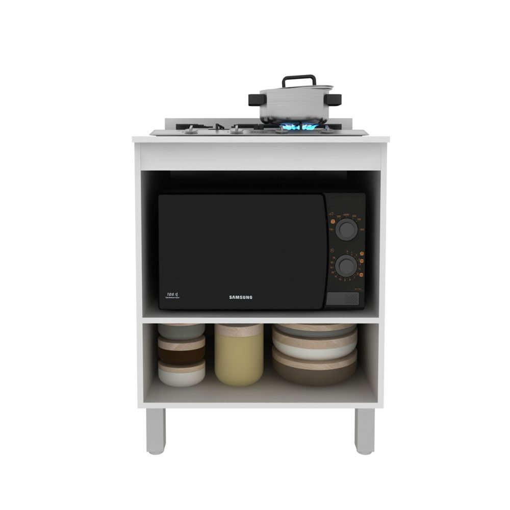 Balcão para Cooktop 4 bocas e Forno/Micro 70cm MDP Branco - MegaSul