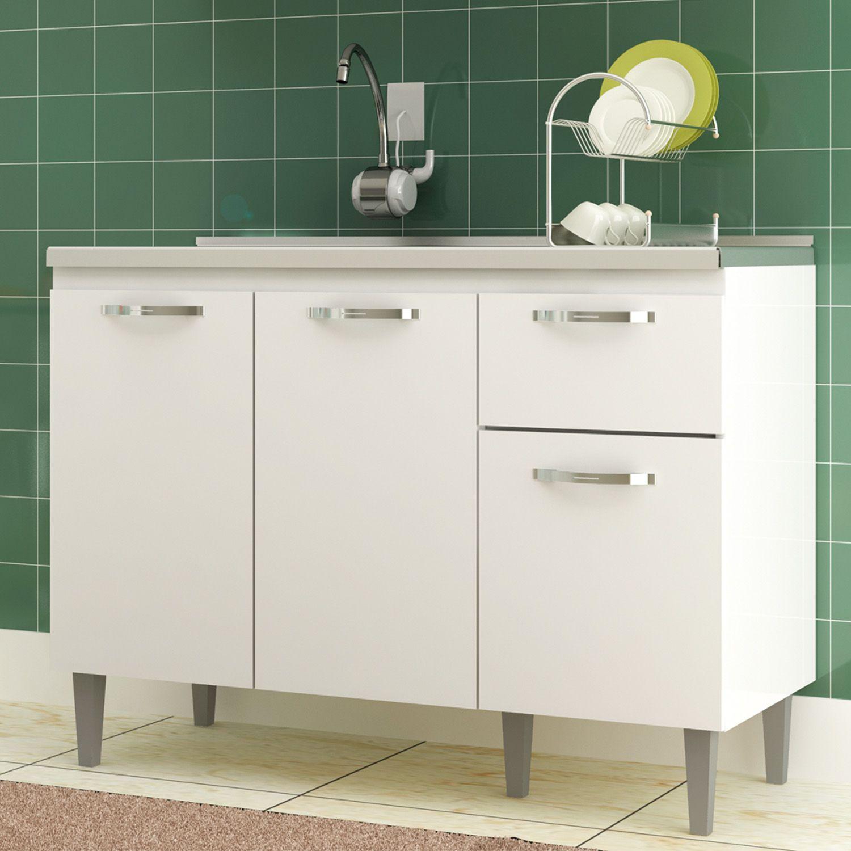 Balcão Para Pia de Cozinha Light 3 Portas 1 Gaveta CZ6282BR Branco - IRM