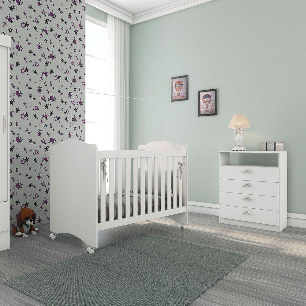 Berço com 3 regulagens 134cm Little Baby Branco  - Megasul