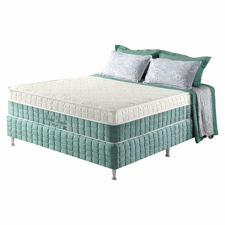Conjunto Cama Box+Colchão Casal Confort Magnético c/ Massageador EspD28 138X188X69 Firme Verde Anjos
