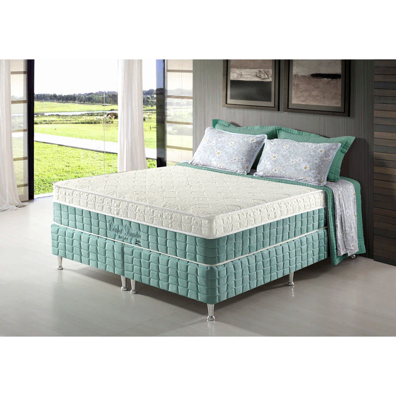 Conjunto Cama Box + Colchão King Confort Magnético com Espuma D28 193x203x69 Firme Verde Anjos