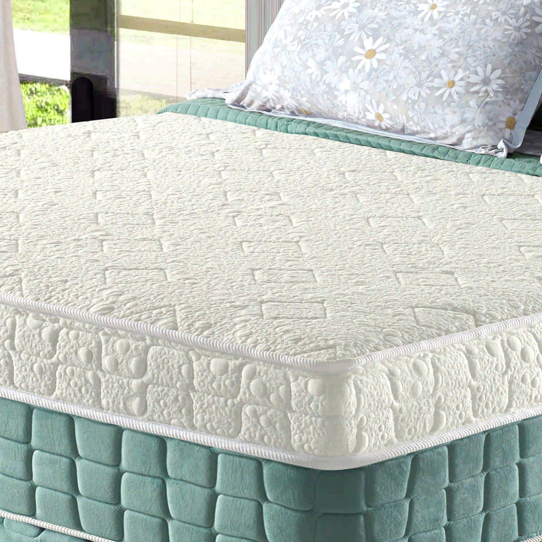 Conjunto Cama Box + Colchão de Solteiro Confort Magnético com EspumaD28 88x188x69 Firme Verde Anjos