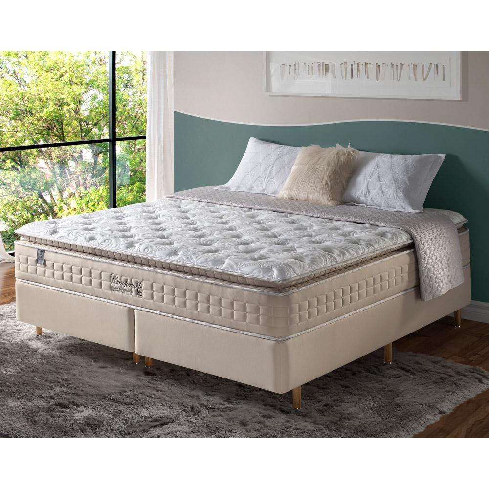 Conjunto Cama Box + Colchão King Confortable com Molas Ensacadas e Pillow Top193X203X73cm Cashmere Marrom - Megasul