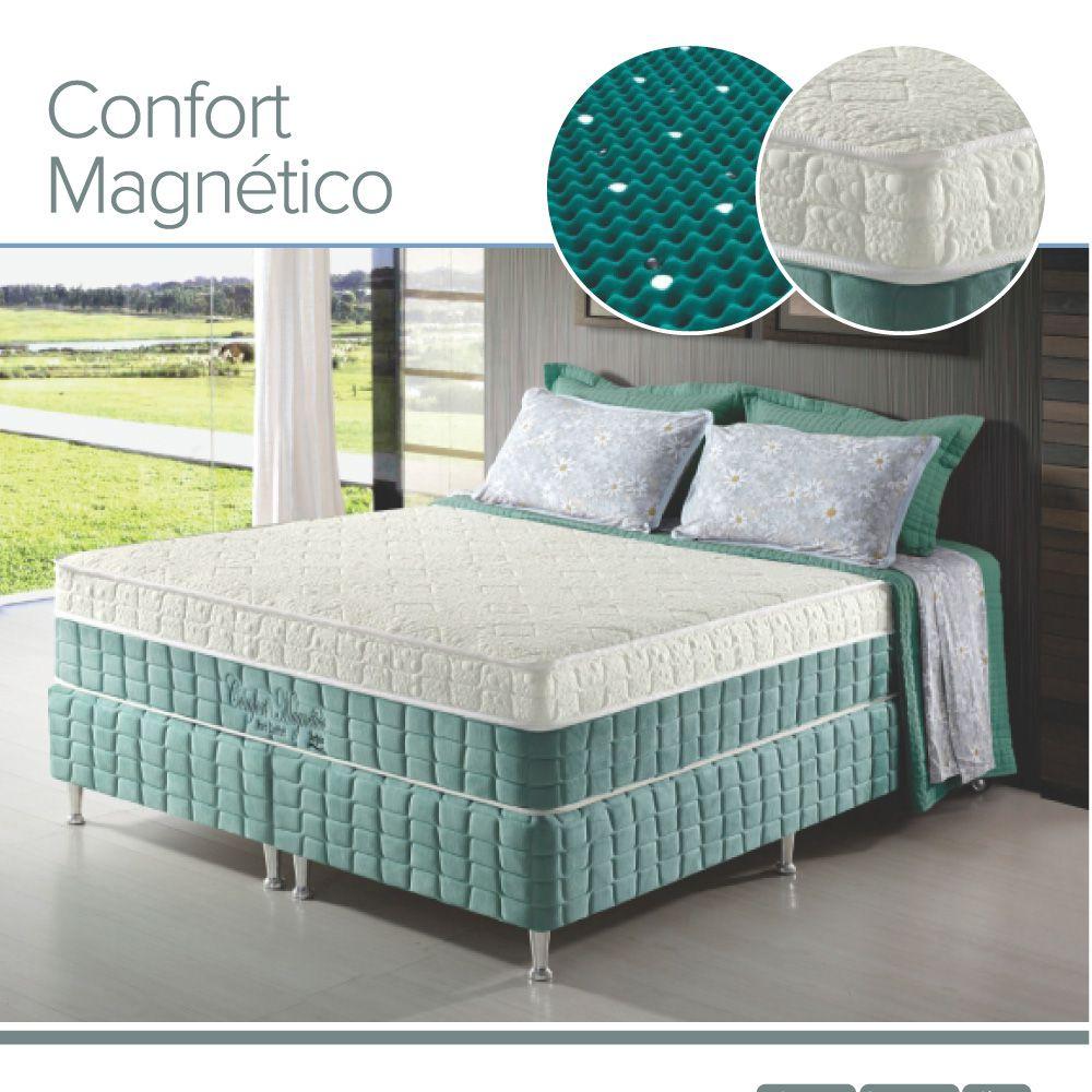 Conjunto Cama Box+Colchão Queen Confort Magnético Massageador EspumaD28 158x198x69 Firme Verde Anjos
