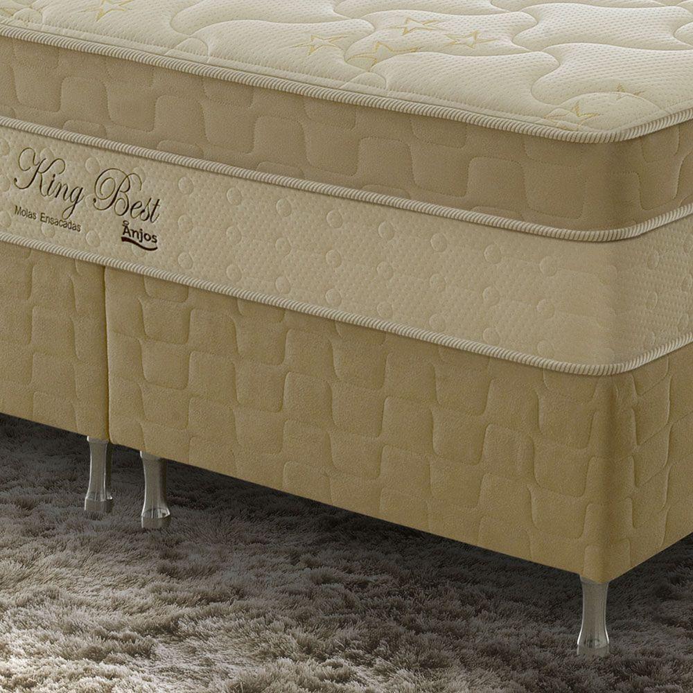 Conjunto Cama Box + Colchão Queen King Best com Molas Ensacadas 158x198x70 Firme Marfim/Bege Anjos