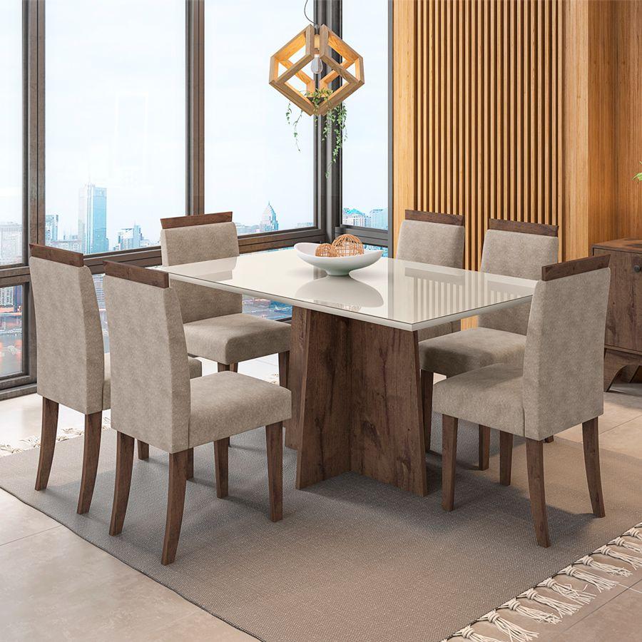Kit Mesa de Jantar Ana 06 cadeiras 160cm Tampo de Vidro MDF - Megasul