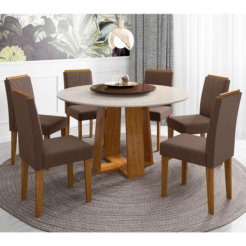 Conjunto Mesa de Jantar Isabela 135 cm 06 cadeiras Tampo Giratório MDF - Megasul