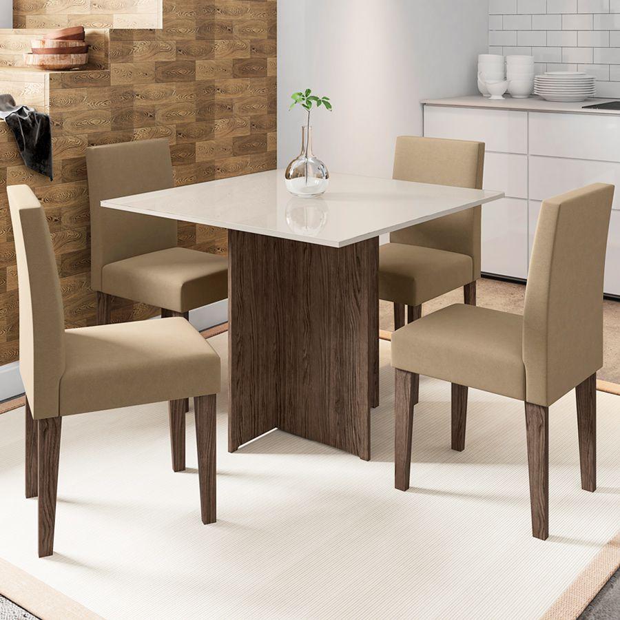 Kit Mesa de Jantar Mariana 04 cadeiras 100 cm Quadrada Tampo Chanfrado MDF - Megasul