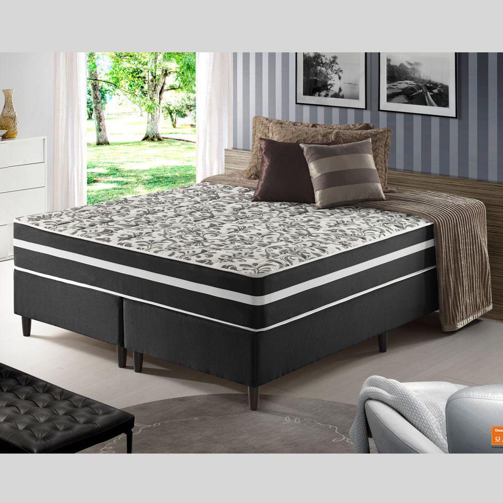 Conjunto Colchão + Cama Box de QUEEN Size Mola Ensacada Black G. Anjos 158X188X63