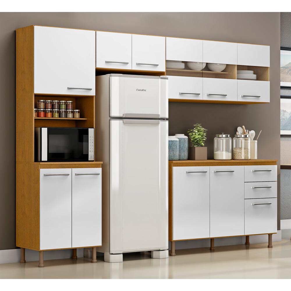 Cozinha Com Tampo Completa Compacta Lara Com Detalhes em Vidro nas Portas 4 Peças 246 Cm Branco/Sinai - Megasul