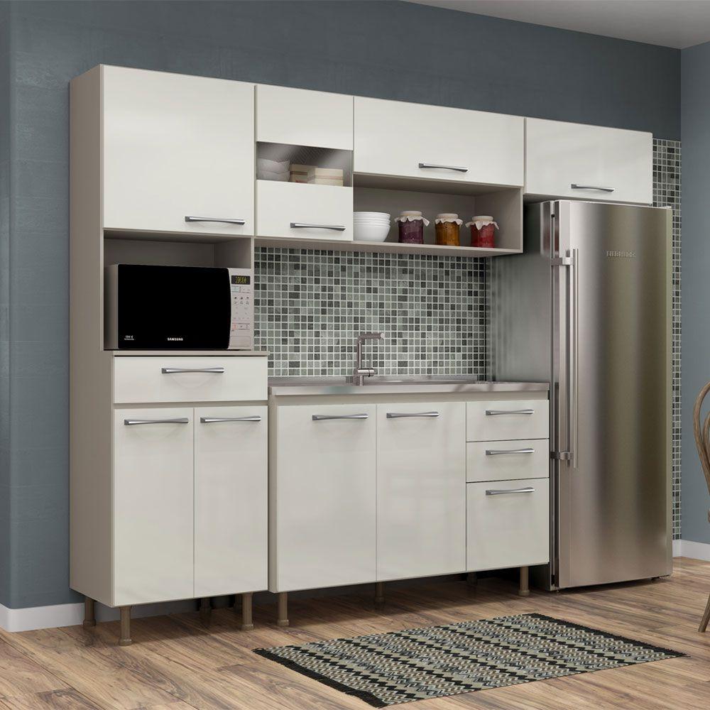 Cozinha com Tampo Completa Compacta Luma com detalhes de Vidro na Porta 4 Peças 246 Cm Taupe/Off White - Megasul