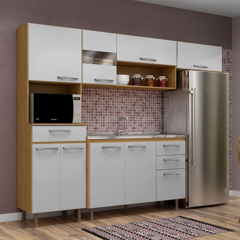 Cozinha com Tampo Completa Compacta  Luma com detalhes em Vidro na Porta 4 Peças 246 Cm Branca/Sinai - Megasul