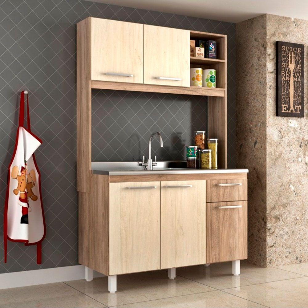 Armário Cozinha Compacta Alice 5 portas 1 gavetas 123cm MDP Carvalho - Megasul